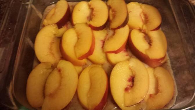 Peach Nectarine Streusel Cake