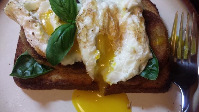 Eggplant, Toast and Egg Breakfast